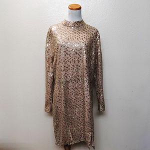 Glamorous Mock Neck Sequin Embroidered Dress 18W